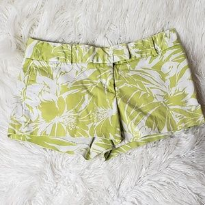Green and White Flower Pattern J. Crew Shorts